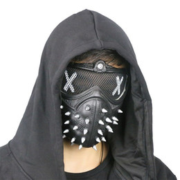 Wholesale Hot Dog Hat - Watch Dogs 2 Mask Wrench Cosplay Rivet Masks Party Christmas Halloween Game Props PVC Black Face Cover Hot