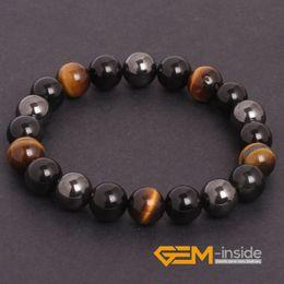 Wholesale Tiger Eye Bracelet For Women - Wholesale- Tiger Eye & Hematite & Black Obsidian Natural Stone Bracelet Energy Jewelry Bracelets For Women Free For Gift Shipping