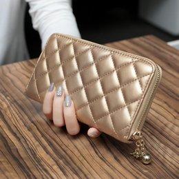 Wholesale Type Ladies Dress - Korean Lingge Long Type Purse Hand Bag Zipper Large Capacity Multi Card Phone Bags Wallets