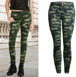Wholesale Women Camo Pants Skinny - Wholesale- 2017 Women`s S-XXXXXL Plus Size Chic Camo Army Green Skinny Jeans For Women Femme Camouflage Cropped Pencil Pants