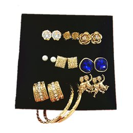 Wholesale mix match earrings - 9 Pack of Fashion Crystal Velvet l mix-and-match Style Deep blue diamonds Earring and hoop Statement Jewelry Whloesales free shipping