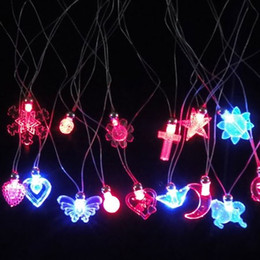 Wholesale Butterfly Party Decor - Fashion Luminous Necklace Love Butterfly Cross Flower Shape Pendant Electronic Party Decor LED Light Up Necklaces Toy 0 88jl B