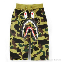 Wholesale Flattering Pants For Short Women - Summer Shark Mouth Camouflage Printed Casual Pants for Men and Women Lovers Shorts Casual Camouflage Skateboard Short Pants Free Shipping