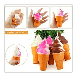 Wholesale Toy Drop Shipping - Mini Squishy PU Squishies Ice Cream Pendant Lovely Ice Cream Model Hanging Drop Mobile Phone Charms Home Decoration Fidget Toy Free Shipping