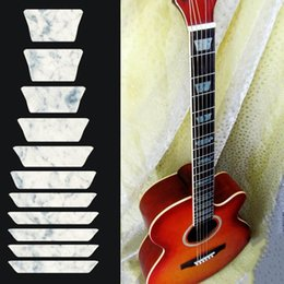 Wholesale electric guitar decals - Wholesale- Electric Acoustic Guitar Bass Inlay Trapezoid Sticker Fretboard Frets Markers Sticker Decal Decor Guitar Sticker