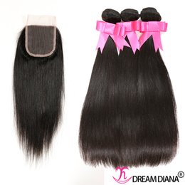 Wholesale Straight Peruvian Hair Mixed Lengths - Grade 8A Peruvian Virgin Hair Straight With Closure Top Lace Closure Hair Cheap Straight Human Hair Weave Bundles Natural Color 4Pcs Lot