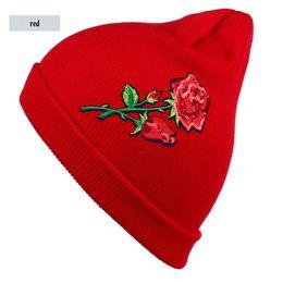 Wholesale Green Flower Street - Women's Beanie sparkles sequins bright color rose Flower Multicolors Knitted Skullie Warm Knit Hat Ladies Winter Hats Womens Ski Cap