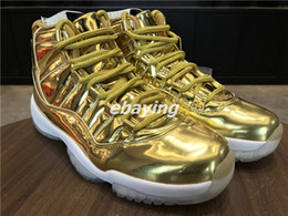 Wholesale Height Carbons - Air Retro 11 Pinnacle Metallic Gold White Mens Basketball Shoes Snearker Fashion XI 11s Gold Basket Ball Sport Shoes With Real Carbon Fiber