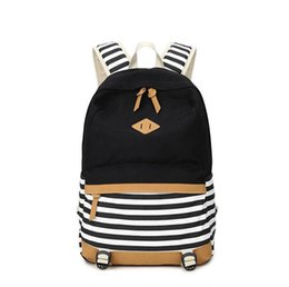 Wholesale Travelling Bag Girl - 2017 patchwork canvas school bags striped backpack for girls casual travel backpack casual backpack women drop shipping MN245
