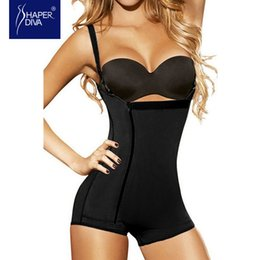 Wholesale Open Hooks - Wholesale- Women Latex Underbust Zipper & Hook Body Shaper Tummy Control Butt Lifter Shaper Open Crotch Push Up Underwear Shaper