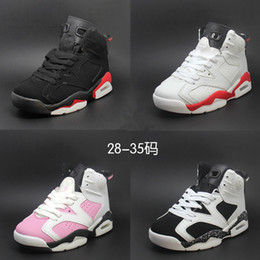 Wholesale Girls Sneakers For Cheap - Children's Basketball Shoes Kids Retro 6 Sports Shoes Boys Girls Youths Oreo Black Infrared Athletic Sneakers Cheap For Sale, Size 28-35