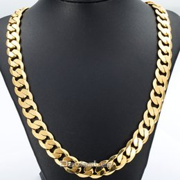 Wholesale Curb Link Gold - Wholesale- Davieslee 18-36INCH 12MM CUT CURB CUBAN Chain Necklace Mens Chain Womens Chain Gold Filled Jewelry Party Daily Wear DLGN270