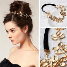 2019 accessori per capelli foglia oro Le ragazze alla moda dorate cavità lascia la fascia elastica dei capelli dei capelli accessori # R48 accessori per capelli foglia oro economici