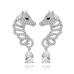 Wholesale Dangle Studs Earrings - LUOTEEMI Brand New Unique White Gold Plated Horse Stud Earrings For Women Elegant Jewelry Animal Zirconia Earrings Christmas Gift