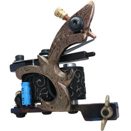 Wholesale Tattoo Custom Machines Frame - 5Pcs lot Professional Damascus Tattoo Machine 10 Wrap Coils Iron Cast Frame Custom Tattoo Gun For Liner Shader DTM-7591