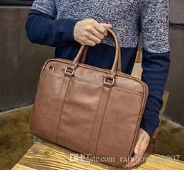 Wholesale Atmosphere Handbags - Factory Brand Men Bag Simple Atmosphere Leather Business Computer Bag Fashion Large Capacity Man Portable Briefcase Leisure Man Handbag