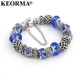 Wholesale Antique Russian Gold - KEORMA 2017 Russian Style Women Bracelet Jewelry Antique Blue Murano Glass Beads Charm Bracelets & Bangles for Women Pulseras