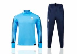 Wholesale Training Jogging Pants - new 2017 Olympic Marseille Tracksuit Soccer Jogging Football Tops Coat Pants Sports Training 17 18 Suit Men Adults OM Football Track Suit