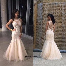 Wholesale Special Occasion Dresses Teens - Elegant African Prom Dresses for Teens Mermaid Lace Illusion Neck Custom Made Party Dress Plus Size Special Occasion Wear