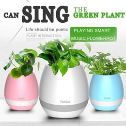 Wholesale Wholesale Plastic Pots Planters - Bluetooth Smart Musisc Flower-pots Cute Round Home Garden Office Decor Planter Plastic Plant Flower Pots Garden F998