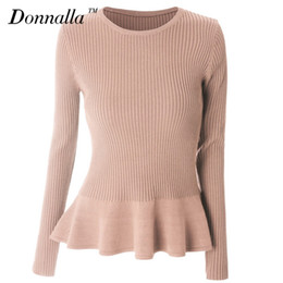 Wholesale Womens Ruffle Sweater - Wholesale- Donnalla Women Sweater Autumn Spring Ladies Long Sleeve O-Neck Ruffles Knitted Sweaters Womens Slim Pullovers Tops 9 Colors