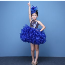 Wholesale Princess Pompon Dress - Free Shipping High Quality Children Catwalk Performance Dress Princess Pompon Skirt Girls Party Beauty Ball Dress Up Evening Dress HY1829