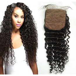 Wholesale Indian Curly Silk Base Closure - Silk Base Closure Deep Wave Peruvian Human Hair Middle Free 3 Part Curly Silk Closure with Hidden Knots FDSHINE