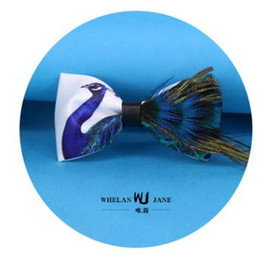 Wholesale natural dyed feather - The new natural feather bird hair cravat the wedding bridegroom bow ties two styles can choose