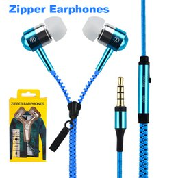 Wholesale Ear Buds Microphone - Zip in-ear 3.5mm earphone with mic metal buds zipper headset headphone for MP3 iphone 6 plus Ipod Samsung htc with retail box