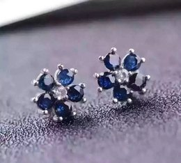 Wholesale Natural Blue Sapphires - Brand New Whosesale 925 Sterling Silver with 18K Gold Plated Natural Sapphire Earrings for Women Genuine Blue Gemstone Fashion Jewelry