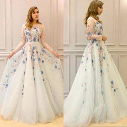 Wholesale Navy Tutu Dress Girls - Amazing Illusion Long Sleeves Prom Dresses Long Appliques Tulle Evening Gowns Sleeves Tulle Tutu Yong Girls Celebrity quinceanera dresses