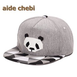 Wholesale Ball Panda - Wholesale- [aide chebi] fashion high-grade cotton cartoon hip-hop hat male Ms rubber perspective porch David Panda baseball hat snapback