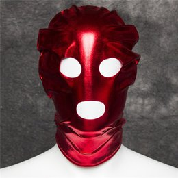 Wholesale Open Face Mouth Mask Hood - Red Patent Leather Hood Mask Open Eye Mouth Face Mask Erotic Adult Couple Flirting Toys Carnival Scary Cosplay Accessories