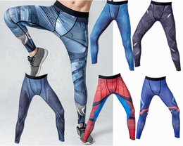 Wholesale America Fitness - Mens compression hero running pants Sports tights gym Captain America superman batman flash black panther fitness skinny leggings trousers