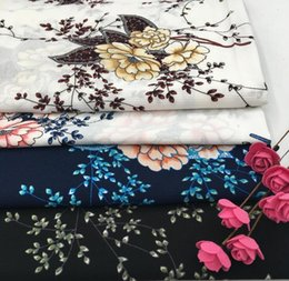 Wholesale cheap satin fabric wholesale - wholesale 4colour New Paris beads large flower dresses chiffon Polyester fabric, print satin floral tweed cheap-silk fabric shirt B710