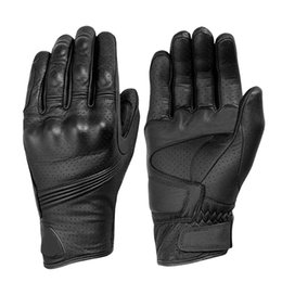 Wholesale Perforated Leather Gloves - Wholesale- Motorcycle Gloves Man Goatskin Leather Glove Perforated Cycling Racing Full Finger Motorbike Moto Bicycle Bike Motocross Luvas