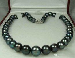 """Wholesale Genuine Cultured Pearls - FFREE SHIPPING**8-9MM Genuine Black Akoya Cultured Pearl Fashion Jewelry Necklace 18"""" AA+"""