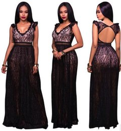 Wholesale Clubwear Backless Gown - Summer new women Sexy lace dress Fashion deep V Bandage bodycon dress Slim Cocktail Party Maxi Dress Backless Clubwear