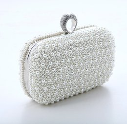 Wholesale Locking Diamond Wedding Ring - New fashion pearl bales ring evening banquet bags Diamonds Finger Rings Small Purse Day Clutches Handbags quality popular style wedding bag