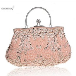 Wholesale silver bridal party evening bags - Women Clutch Bags Beads Evening Exquisite Ladies Beaded Embroidered Wedding Party Bridal Handbag Wristlet bolsos Smal