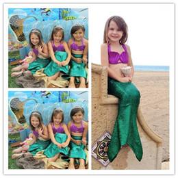 09066b1801574 3 Pc Cute Children Kids Mermaid COSPLAY Bikini Swimwear For Girls With High  Waist Fish Scale Bottom Bathing Swimsuit Costumes Clothing