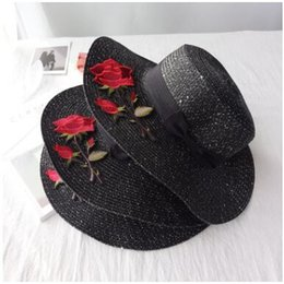 Wholesale Rose Foldable - Fashion wide Brim summer beach sun hats for women bow tie sequins rose flowers Embroidery big straw Hats caps holiday sunscreen foldable hat