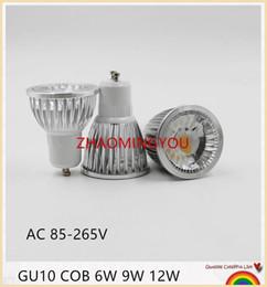 Discount led cree lamp bulb 6w - 10pcs New High Power CREE MR16 GU10 6W 9W 12W LED COB spotlight lamp bulb warm cool white 85-265V CE ROHS