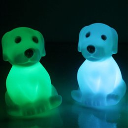 Wholesale Cute Desk Light - Color Changing Battery Operated LED Night Light Children Kids Bedroom Mini Table Desk Lamp Small Cute Dog Animal Shaped Night Lightings