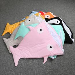 Wholesale Kids Sleeping Bag Camping - 8 Color INS Kids 65x83cm shark Sleeping Bags cotton cartoon Mattress Sofa Bedroom Blankets Camping Travel Blankets Newborns clothrs B001