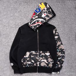 2019 hoodie do velo do camo Boca Tubarão Preto dos homens por atacado Impressão Moletom Com Capuz Jaqueta de Camuflagem de Lã Preta Hoodies Moletons Com Capuz Outono Inverno Camo dos homens desconto hoodie do velo do camo
