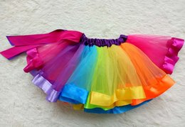 Wholesale Summer Girl Rainbow - 2017 Girls Dress Baby Kids Girl Dress Tutu Dress Children Colorful Rainbow Dresses Half length skirt