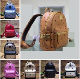 Wholesale Men S Soft Leather Bags - Designer backpack for women and men Fashion Genuine leather Punk rivet style luxury backpack handbag Hot boys girls school bags S M L 3 size
