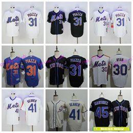 Wholesale Tom Purple - New York Mets Throwback Baseball Jersey 31 Mike Piazza 41 Tom Seaver 30 Nolan Ryan 45 Pedro Martinez Cooperstown Black Stitched Jerseys