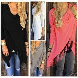 Wholesale Stylish Long Women Sweaters - 8 Colors Tassel Knitted Blouse Stylish Loose Sweater Woman Irregular Collar Fashion Long Sleeve Cardigan Casual Outwear Jacket CCA7378 50pcs